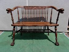 ANTIQUE OAK LION HEAD CLAW FEET hall seat-bench-HORNER -FLINT Selling Out Make O