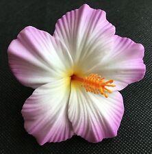 Hawaiian Foam Hibiscus Flower Hair CLIP Purple White Wedding Bridal Luau Party