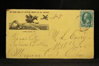 Ill: Texas City 1877 Comic Corner Card Cover, Cairo & Vincennes Railroad Invoice