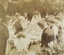 Wedding Party Saying Grace Stereoview Card Antique 1905 International View