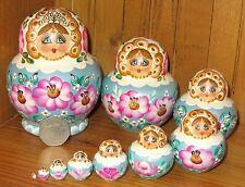 Nesting Russian Matryoshka Doll Babushka 10 White Blue Hand Painted SIMAKOVA