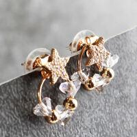 Sweet Flower Pearl Earrings Women Circle Drop Dangle Ear Stud Gifts JA