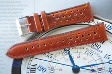 20mm European Hand-Made Rally Carrera Quality Leather Watch Strap Brown Band