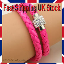A Pretty Shamballa Pink Faux Leather Double Twist Bracelet Crystal Rhinestone