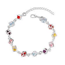 925 Silver Colorful Rhinestone Chain Fashion Bracelet Bangle Lady Jewelry Sl22