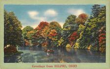 Belpre Ohio~Rowboating the Ohio River~Autumn Trees~1940s Linen Postcard