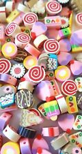 50 LOLLY/ICE CREAM BEADS-10MM FIMO CAKES/LOLLIPOP BEAD-COLOURFUL-SWEET TREATS