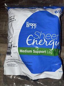 Leggs 6 Pair Womens Pantyhose Sheer Energy Off Black Control Top Medium ~ Q