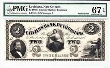 1860'S $2 Citizen Bank Of Louisiana PMG 67 SUPERB GEM UNCIRCULATED!