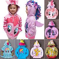 My Little Pony Wing Girls Toddler Kids Hoodie Sweatshirt Hooded Zip Coat Jacket