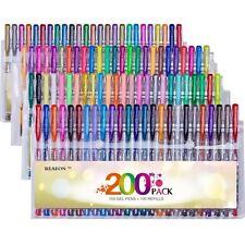 Reaeon 200+ Colored Gel Pens Set Unique Colors More Ink Capacity 100 Coloring Ge