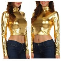 Womens Metallic Liquid Mock Neck Turtleneck Long Sleeve Crop Top Stretch Shirt