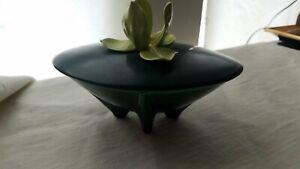 Ceramic Covered Applied Iris Candy Dish/Trinket Box 8x5.5x5.5 Mid Century