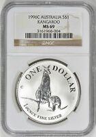 Australia 1996 Silver Kangaroo NGC MS 69  Australian Coin MS69 Australian