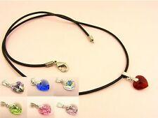 Genuine LEATHER Cord NECKLACE Made w/Swarovski Crystal HEART Birthstone 925 BAIL