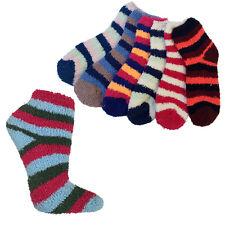 3 Pair: Fuzzy Striped Ankle Socks