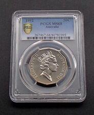1992 Australian Fifty 50c Cent Coin - Elizabeth II - PCGS Graded MS68 - GEM