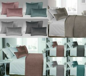 Luxury French Velvet Diamond Quilted Bedding Set Bed Runner Throw Cushion Covers