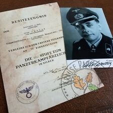 Aged German Panzer Badge award document - Tank Ace Otto Carius + signed photo