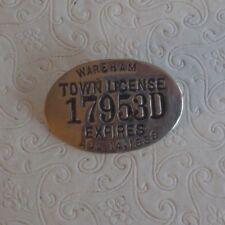 Vintage 1939 Wareham Ma license badge 17953D