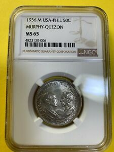 US PHILIPPINES FIFTY CENTAVOS 1936-M MURPHY QUEZON COMMEMORATIVE NGC MS 65