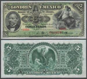 Mexico - Banco Londres, SPECIMEN! 5 Pesos SPECIMEN!, VF+++, 1913, P-S233