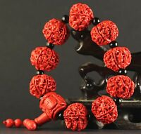 China old natural red jade cinnabar bangle Chinese jade beads Bracelet