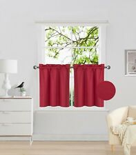 "2PC Rod Pocket Short Window Treatment Curtain Insulated Blackout Set 30""x24"" R16"