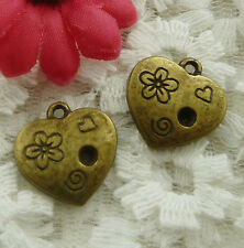 free ship 60 pieces bronze plated heart charms 18x17mm #2019