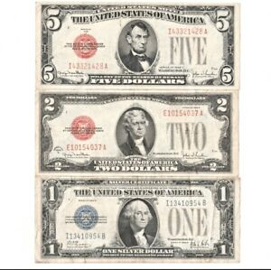 1928F $5 RED SEAL 1928G $2 RED SEAL 1928B $1 SILVER CERTIFICATE FUNNY BACK