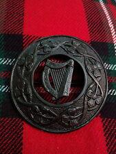 "TC Irish Celtic Harp Kilt Fly Plaid Brooch Black Finish 3""/Fly Plaid Brooch Harp"