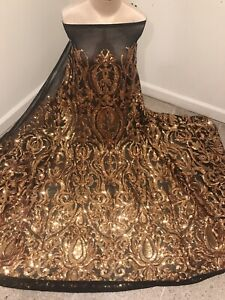 """Black Gold 4way stretch sequin Lace fabric 50"""" Width Sold By The Yard"""