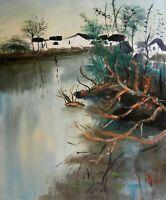 DORFLANDSCHAFT signiert Öl Leinwand Gemälde oil canvas painting ca. 60x50 cm