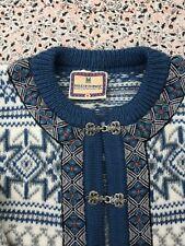 DALE OF NORWAY - Unisex - Blue-White-Grey - Wool - Setesdal Cardigan - M - UK14