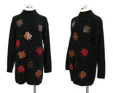 80s 90s Sweater Dress EVAN DAVIES Vtg Lambswool Black Pullover M to L