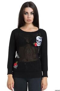Womens Skull Rose Moth Mesh Knit Sweater Jumper Alternative Gothic Steampunk