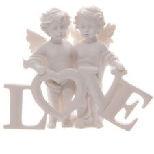 NEW Heavenly Cherubs Pair Holding LOVE Letters ORNAMENT Ivory Finish GIFT Cupid