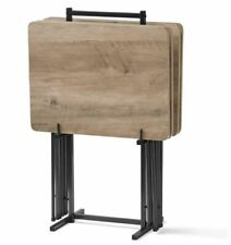 TV Folding Table Set 5-Piece Modern Wood Snack Dinner Tray w/ Stand Rustic Gray