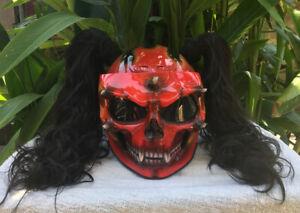 Custom Motorcycle Helmet Skull Red Fire Black Ponytails Biker Girls Helmet New