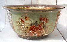 Vintage Large Japanese Signed Satsuma Bowl Cachepot Crackle Glaze Floral Design