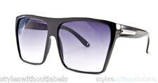 Super Flat Top Black Hipster Sunglasses Oversize Frame Retro Designer Style 80s