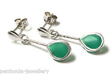 9ct White Gold Green Agate drop Earrings Gift Boxed Made in UK
