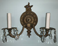 Vintage Cross Torch Brass 2 Arm hard wired electrical Wall Sconce
