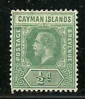 Album Treasures Cayman Islands Scott # 33  1/2p George V Mint  Hinged
