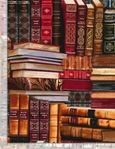 """Library Fabric - Metallic Packed Books - Timeless Treasures 18"""""""