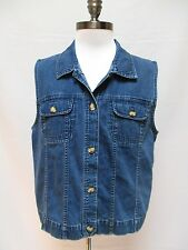 TALBOTS Blue Denim Sleeveless Button Front Cotton Vest Pockets Collar Shirt sz L