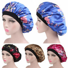 UK Women Satin Silk Night Sleep Cap Print Hair Care Bonnet Hat Head Cover Wrap