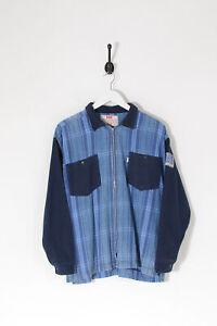 Vintage LEVI'S Zip Up Checked Shirt Blue (L)