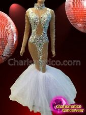 Showgirl Nude-Illusion Crystal Embellished Mermaid Gown with White Organza Skirt