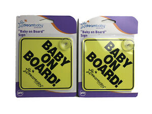 Lot of 2 Dream Baby Baby On Board Car Window Suction Signs New!